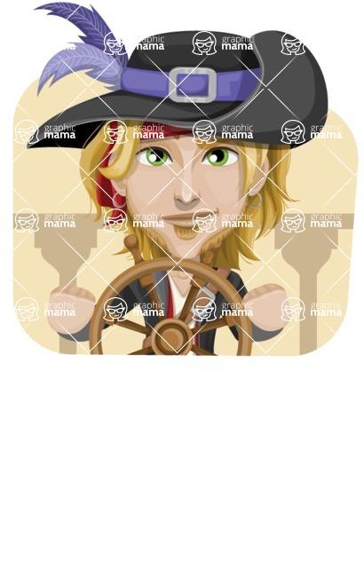 Man with Pirate Costume Cartoon Vector Character AKA Captain Jerad - Shape 4