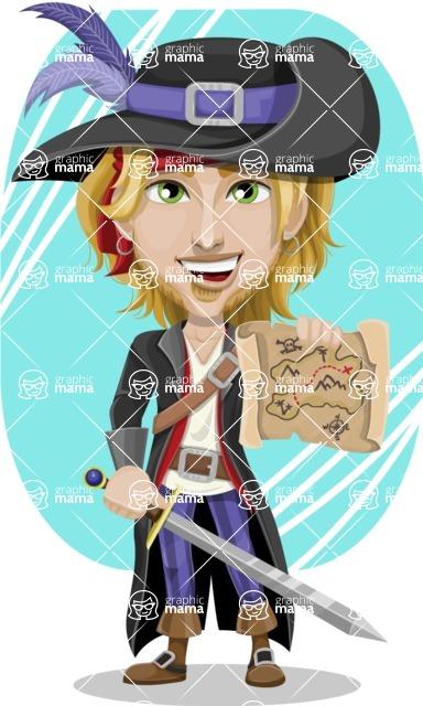 Man with Pirate Costume Cartoon Vector Character AKA Captain Jerad - Shape 5