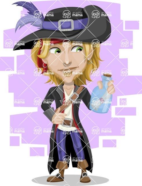 Man with Pirate Costume Cartoon Vector Character AKA Captain Jerad - Shape 6