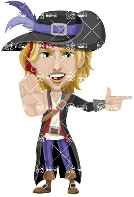 Man with Pirate Costume Cartoon Vector Character AKA Captain Jerad - Direct Attention