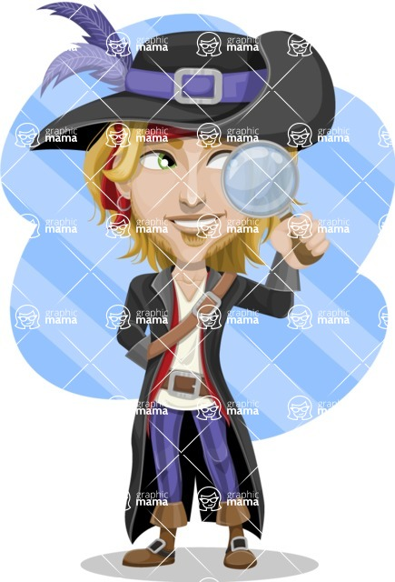 Man with Pirate Costume Cartoon Vector Character AKA Captain Jerad - Shape 11