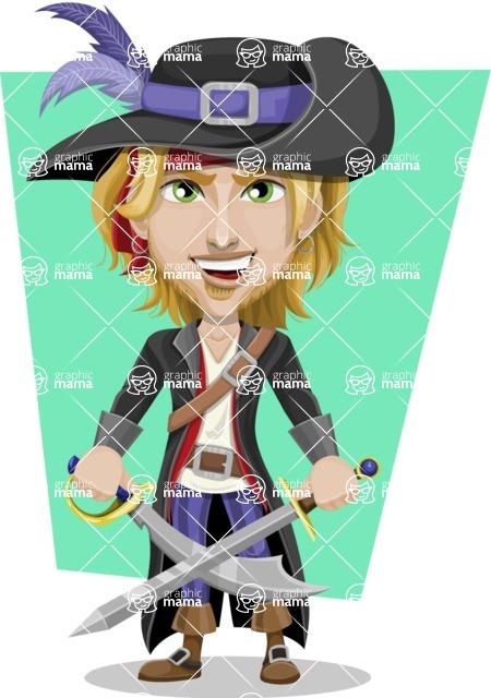 Man with Pirate Costume Cartoon Vector Character AKA Captain Jerad - Shape 12