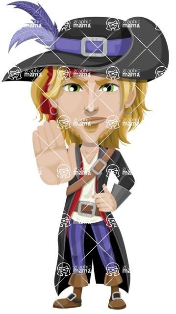 Man with Pirate Costume Cartoon Vector Character AKA Captain Jerad - Stop