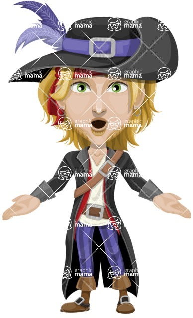 Man with Pirate Costume Cartoon Vector Character AKA Captain Jerad - Stunned