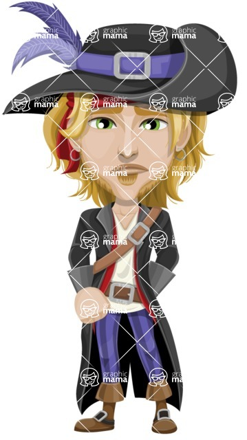 Man with Pirate Costume Cartoon Vector Character AKA Captain Jerad - Sad