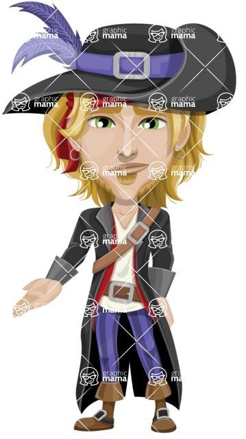 Man with Pirate Costume Cartoon Vector Character AKA Captain Jerad - Sad 2