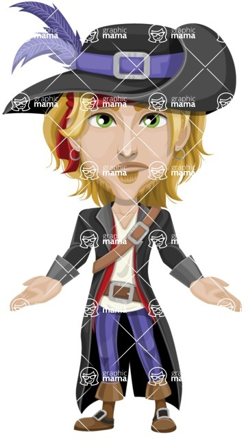 Man with Pirate Costume Cartoon Vector Character AKA Captain Jerad - Lost