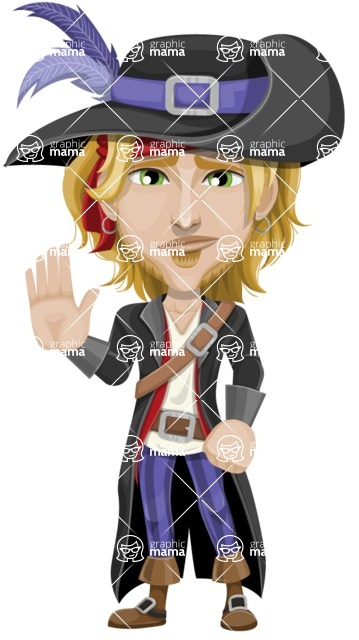 Man with Pirate Costume Cartoon Vector Character AKA Captain Jerad - GoodBye