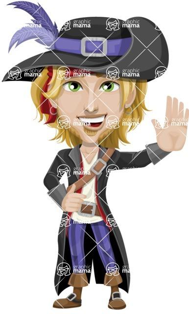 Man with Pirate Costume Cartoon Vector Character AKA Captain Jerad - Hello
