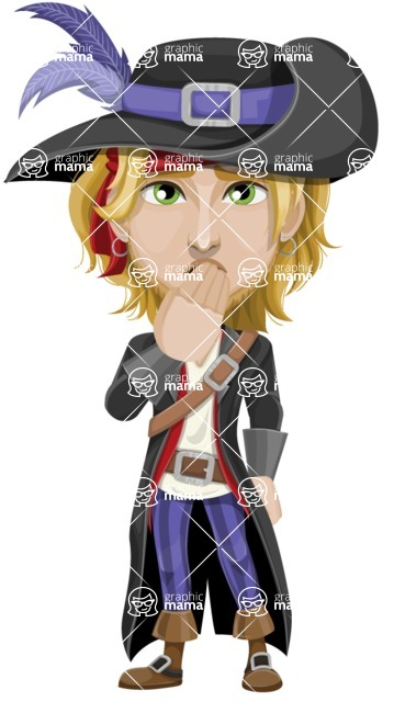 Man with Pirate Costume Cartoon Vector Character AKA Captain Jerad - Oops
