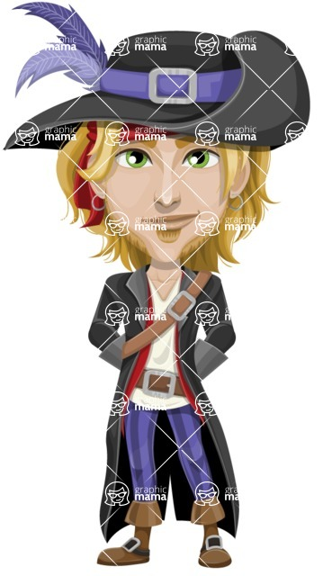 Man with Pirate Costume Cartoon Vector Character AKA Captain Jerad - Patient