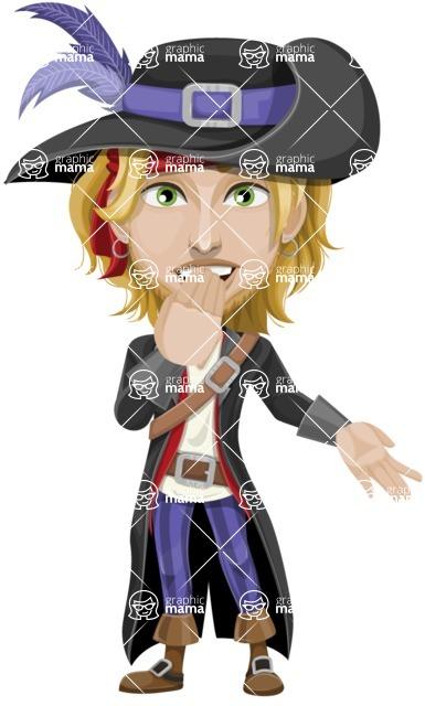 Man with Pirate Costume Cartoon Vector Character AKA Captain Jerad - Blank