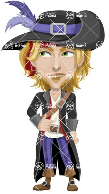 Man with Pirate Costume Cartoon Vector Character AKA Captain Jerad - Bored