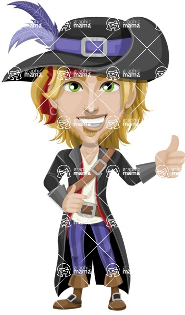 Man with Pirate Costume Cartoon Vector Character AKA Captain Jerad - Thumbs Up