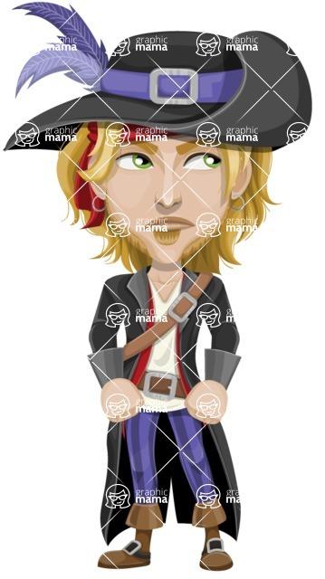 Man with Pirate Costume Cartoon Vector Character AKA Captain Jerad - Bored 2