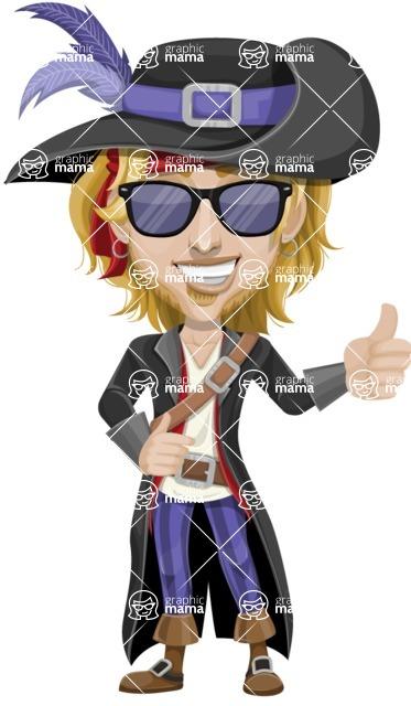 Man with Pirate Costume Cartoon Vector Character AKA Captain Jerad - Sunglasses