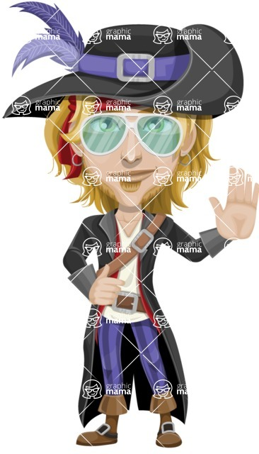 Man with Pirate Costume Cartoon Vector Character AKA Captain Jerad - Sunglasses 2