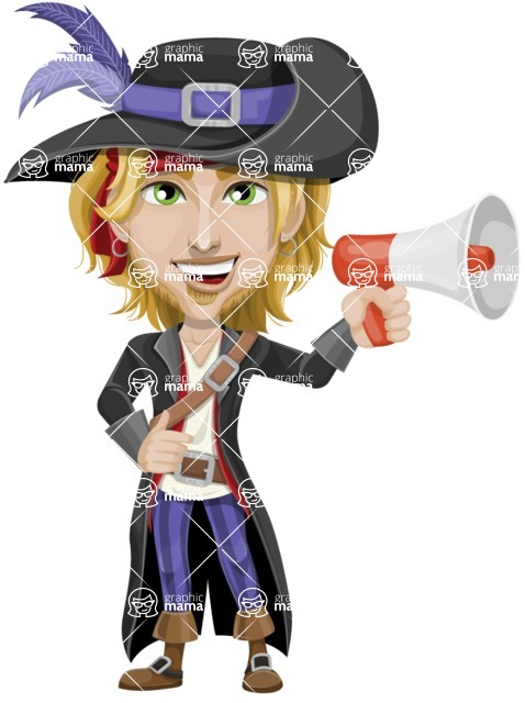 Man with Pirate Costume Cartoon Vector Character AKA Captain Jerad - Loudspeaker