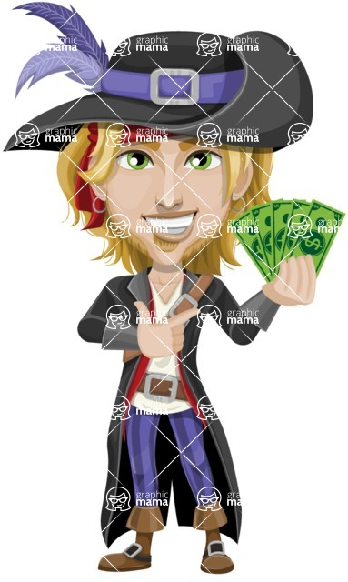 Man with Pirate Costume Cartoon Vector Character AKA Captain Jerad - Show me the Money