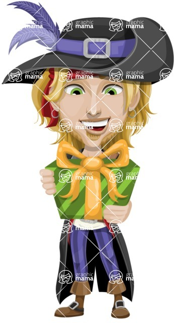 Man with Pirate Costume Cartoon Vector Character AKA Captain Jerad - Gift