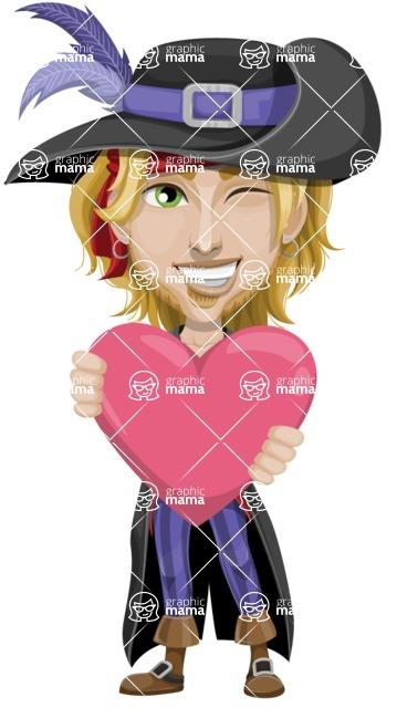 Man with Pirate Costume Cartoon Vector Character AKA Captain Jerad - Love