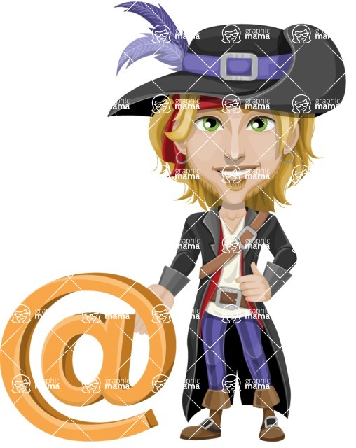 Man with Pirate Costume Cartoon Vector Character AKA Captain Jerad - E-mail