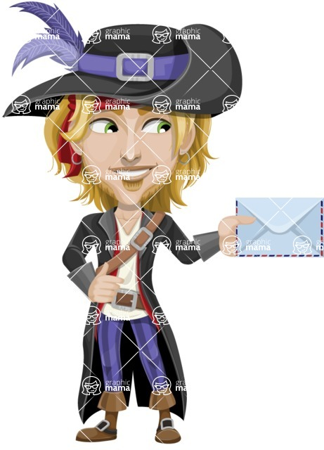 Man with Pirate Costume Cartoon Vector Character AKA Captain Jerad - Letter