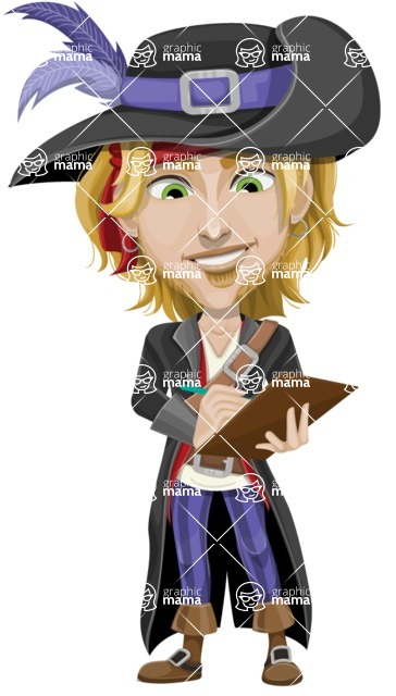 Man with Pirate Costume Cartoon Vector Character AKA Captain Jerad - Note 2