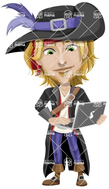 Man with Pirate Costume Cartoon Vector Character AKA Captain Jerad - Laptop