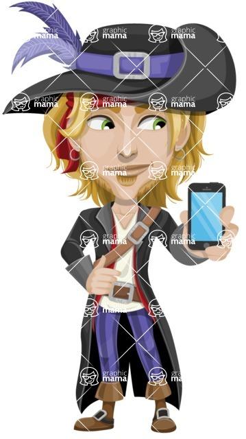 Man with Pirate Costume Cartoon Vector Character AKA Captain Jerad - iPhone