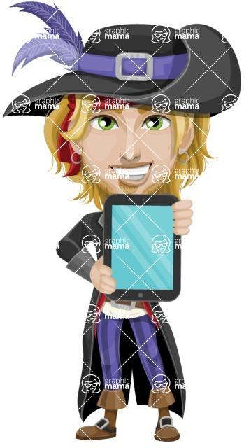 Man with Pirate Costume Cartoon Vector Character AKA Captain Jerad - iPad 1