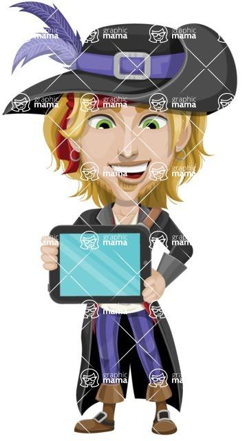 Man with Pirate Costume Cartoon Vector Character AKA Captain Jerad - iPad 2