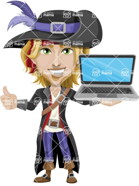 Man with Pirate Costume Cartoon Vector Character AKA Captain Jerad - Laptop 2