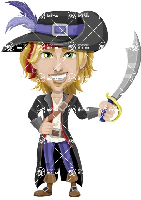 Man with Pirate Costume Cartoon Vector Character AKA Captain Jerad - Sword 1