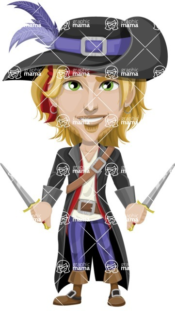Man with Pirate Costume Cartoon Vector Character AKA Captain Jerad - Daggers