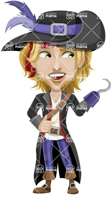 Man with Pirate Costume Cartoon Vector Character AKA Captain Jerad - Hook