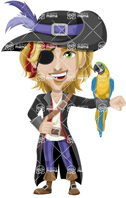 Man with Pirate Costume Cartoon Vector Character AKA Captain Jerad - Eyepatch and Parrot