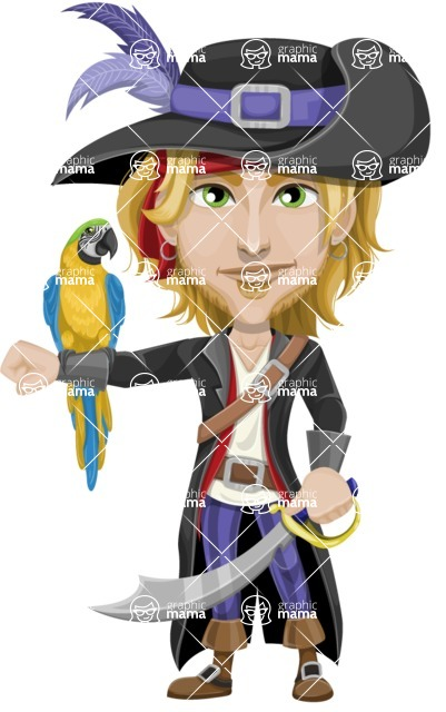 Man with Pirate Costume Cartoon Vector Character AKA Captain Jerad - Parrot and Sword
