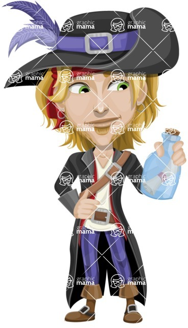 Man with Pirate Costume Cartoon Vector Character AKA Captain Jerad - Map in a bottle