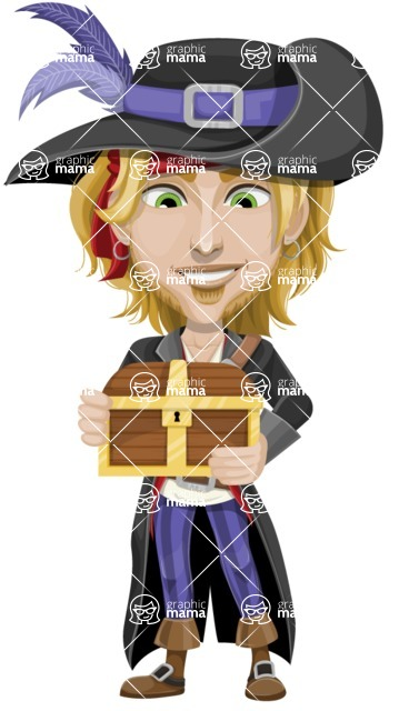 Man with Pirate Costume Cartoon Vector Character AKA Captain Jerad - Treasure chest 1