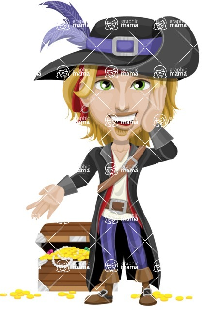 Man with Pirate Costume Cartoon Vector Character AKA Captain Jerad - Treasure chest 2