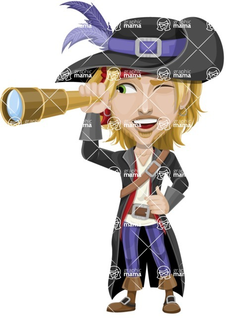 Man with Pirate Costume Cartoon Vector Character AKA Captain Jerad - Spy glass
