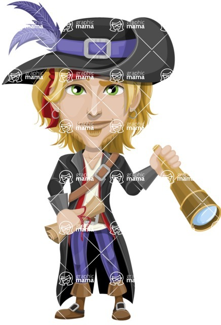 Man with Pirate Costume Cartoon Vector Character AKA Captain Jerad - Map and Spy glass