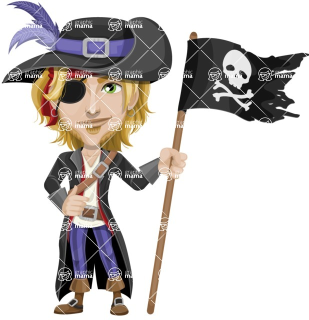 Man with Pirate Costume Cartoon Vector Character AKA Captain Jerad - Pirate flag