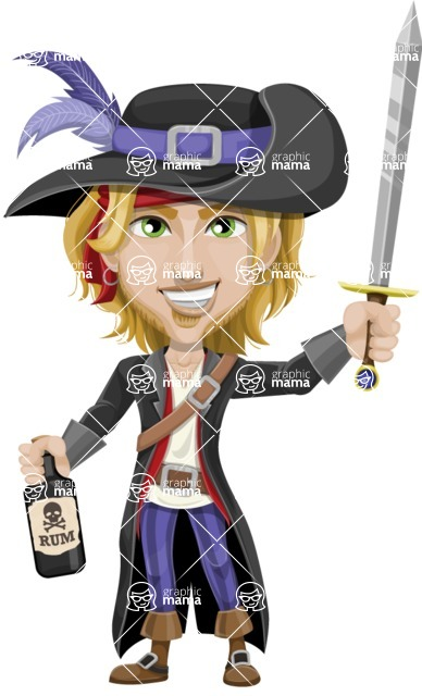 Man with Pirate Costume Cartoon Vector Character AKA Captain Jerad - Bottle of rum and Sword