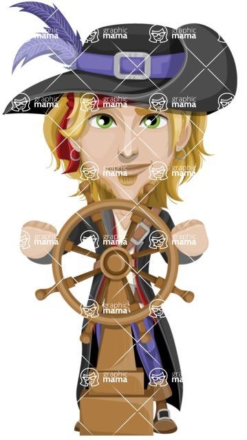 Man with Pirate Costume Cartoon Vector Character AKA Captain Jerad - Ship wheel