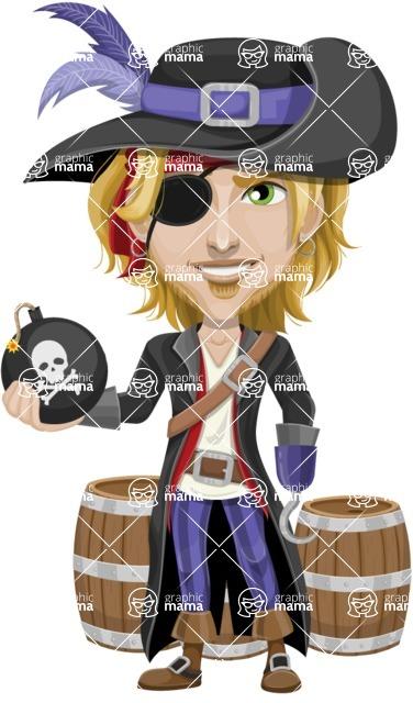 Man with Pirate Costume Cartoon Vector Character AKA Captain Jerad - Barrels and Bomb