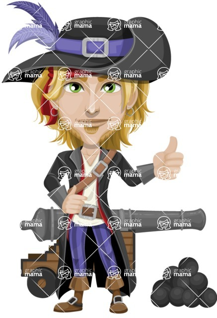 Man with Pirate Costume Cartoon Vector Character AKA Captain Jerad - Cannon with cannon balls
