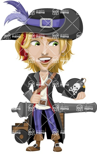 Man with Pirate Costume Cartoon Vector Character AKA Captain Jerad - Cannon and Bomb