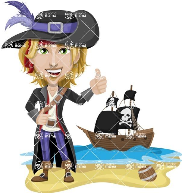 Man with Pirate Costume Cartoon Vector Character AKA Captain Jerad - Pirate ship at sea